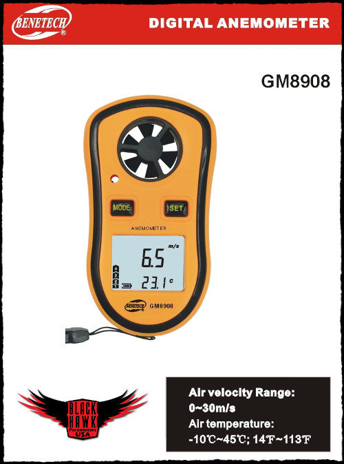BlackHawk Wind Gauge Meter Paramotor Powered Paragliding